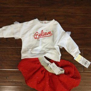 Cat & Jack Baby Girls Tutu Holiday Outfit 0-3M